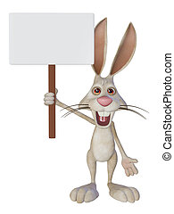 cartoon white rabbit with a blank sign - Easter illustration...