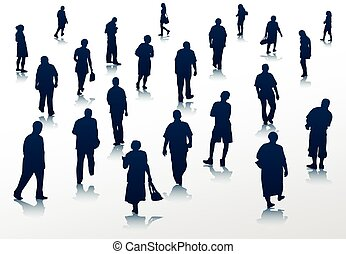 People walking silhouettes
