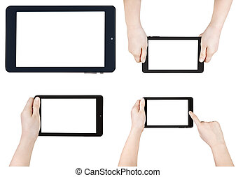 set of children hands with tablet pc isolated