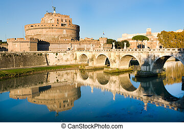 SantAngello castle in Rome - The fortress of SantAngello and...