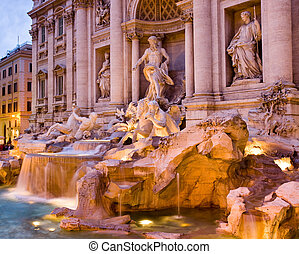 Trevi Fountain in Rome at night
