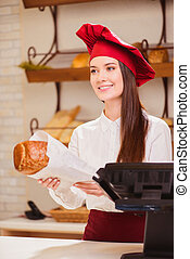Beautiful young woman in a bakery - Please enjoy Beautiful...