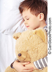 Portrait of a boy sleeping with teddy bear - Sleeping angel...