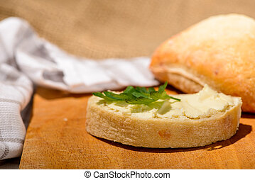 Closeup image of a delicious bread with butter - Your bread...