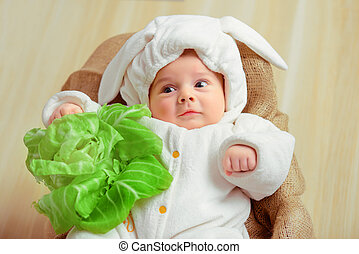 Adorable little baby in a funny bunny bodysuit - That is how...