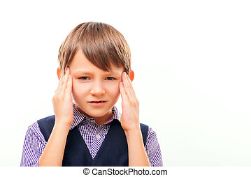 Cute child suffering from headache - It is hard to...