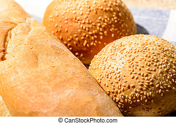 Image of bread loaf and buns - The freshest bread for you....