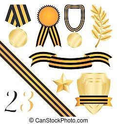 Collection Of Elements Of Design For Congratulations On 23 February And On 9 May, Isolated On White Background, Vector Illustration