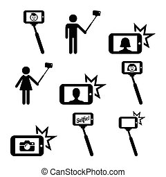 Selfie stick with mobile phone - Vector icons set of people...