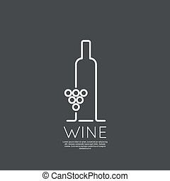 Bottle of wine with a glass wine. Icon, symbol, logo...