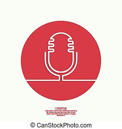 Abstract background with an old microphone - Web icon with...