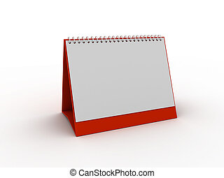 daily planner - red daily planner or calendar 3d rendered