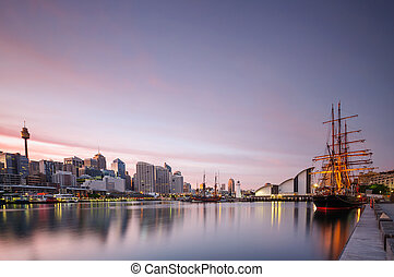 Sydney darling harbour maritime museum and boats at sunrise...