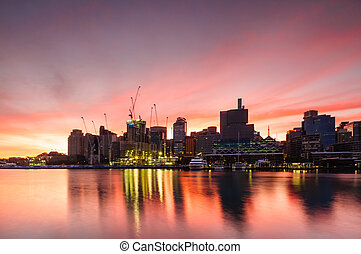 Sydney darling harbour on sunsise - Sydney darling harbour...