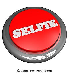 Selfie button isolated over white, 3d render