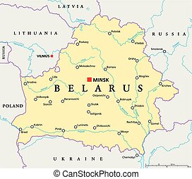 Belarus Political Map with capital Minsk, national borders,...