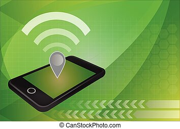 Personal hotspot concept Wifi and map pin icon on top of...