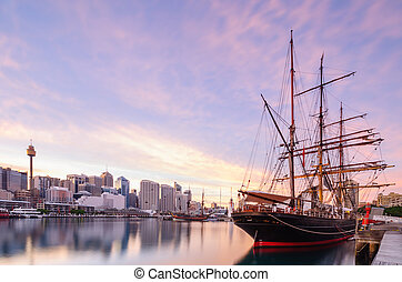 Sydney, querido, puerto, en, sunsise,