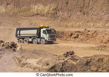 excavadora, trabajo, camión, cantera