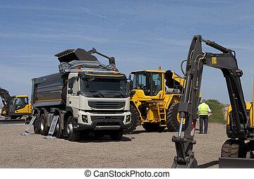 camión, y, excavadora, trabajo, en, el, cantera,