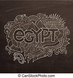 Egypt hand lettering and doodles elements background Vector...