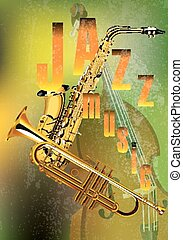 jazz music instrument - vector illustration of a jazz...