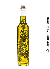 Olive oil bottle with rosemary