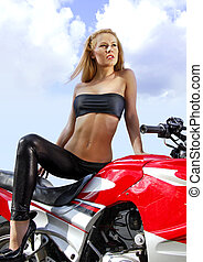 young blonde on a motorcycle - pretty blonde woman on a big...