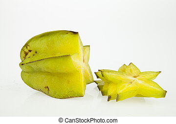 Starfruits and slice isolated on white background