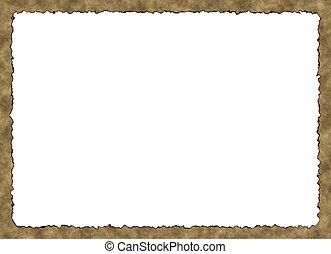 Blank Vintage Paper Frame with burnt edges on white...