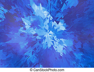 burst of blue broken particle crystal