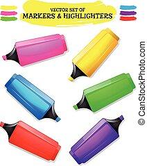 Highlighter And Felt Tip Pen Set - Illustration of a set of...