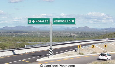 Hermosillo Mexico and Nogales USA - Overpass and turnoff in...
