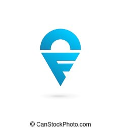 Letter F geotag logo icon design template elements