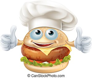 Cartoon chef burger mascot character doing a double thumbs...