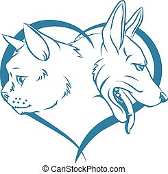 Cat and dog heart concept