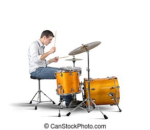 Drummer - A musician plays his drums with passion