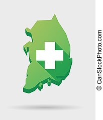 South Korea map icon with a pharmacy sign - Illustration of...