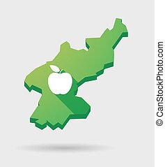 North Korea map with a fruit - Illustration of a North Korea...