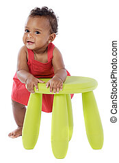 Chubby african baby on a over white background
