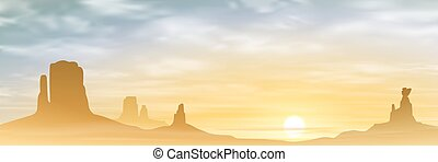 A Desert Landscape with Mountains and Sunset, Sunrise Vector...