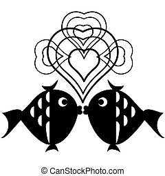 Decor with fish ,vector.