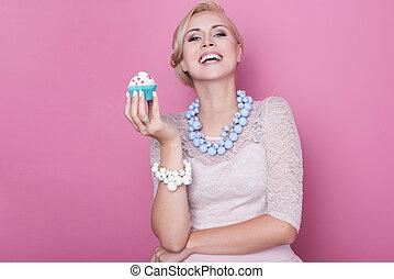 mulheres, bolo, doce, sobremesa,