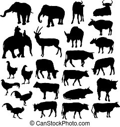 Black silhouettes of elephants, cows, bulls, chickens, deer...