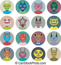 Cute cartoon Monsters Set Big collection on white background...
