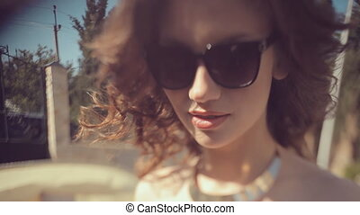 Beautiful face of the girl near pool - Beautiful face of the...