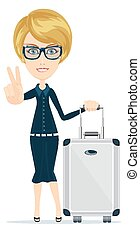 Cartoon woman with luggage, vector