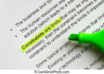 constraints - constraint are limits sentence highlighted by...
