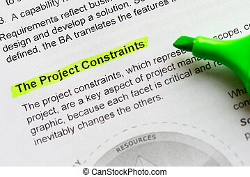 the project constraint sentence highlighted by green marker