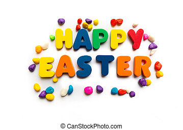 happy easter colorful word on the white background